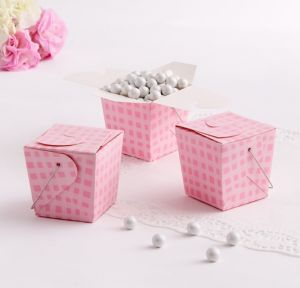 Plaid Pink Baby Shower Favor Pails 12ct