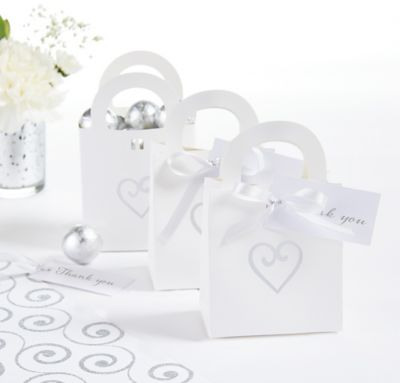 White Heart Wedding Favor Bag Kit 50ct