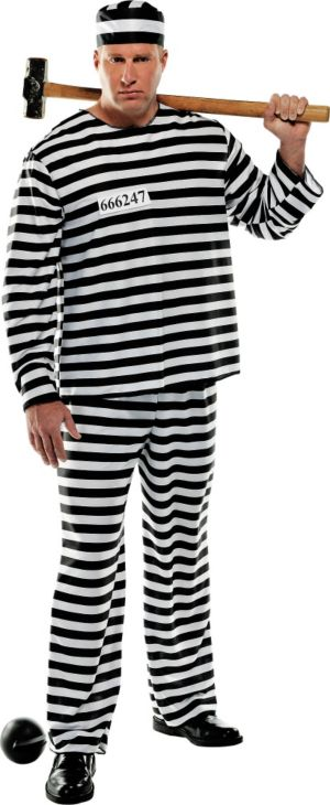 Adult Convict Prisoner Costume Plus Size