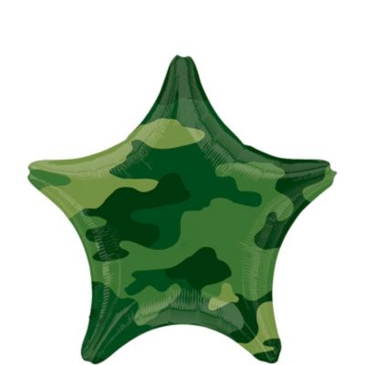 Camouflage Birthday Balloon - Star