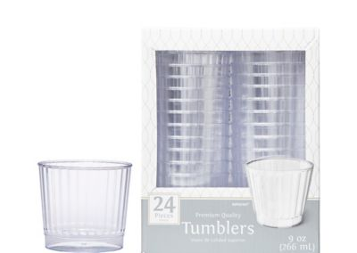 CLEAR Premium Plastic Tumblers 24ct