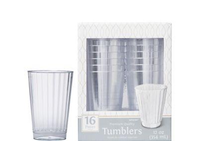 CLEAR Premium Plastic Tumblers 16ct