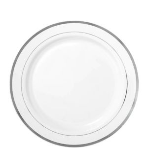 White Silver Trimmed Premium Plastic Lunch Plates 20ct