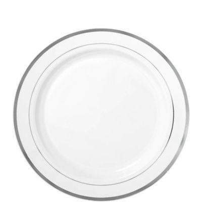 White Silver Trimmed Premium Plastic Dessert Plates 20ct