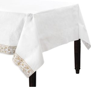 Premium White Gold Scroll Table Cover