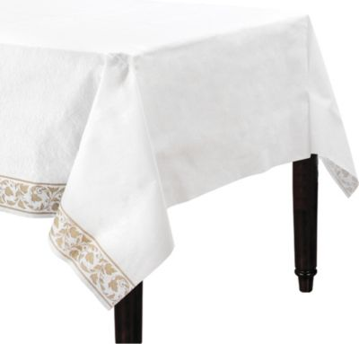 Linen-Like Premium White Gold Scroll Table Cover