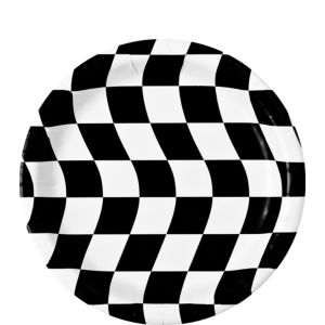 Black & White Checkered Dessert Plates 8ct