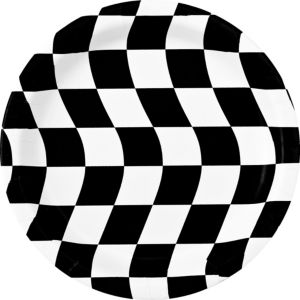 Black & White Checkered Lunch Plates 8ct
