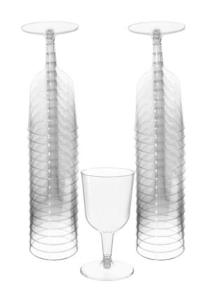 CLEAR Plastic Wine Glasses 32ct