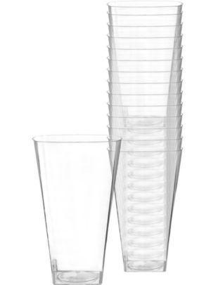 Large CLEAR Premium Plastic Square Tumblers 14ct