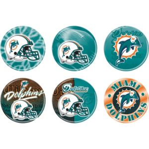 Miami Dolphins Buttons 6ct