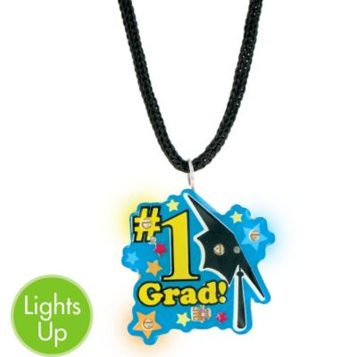 Light-Up Flash Pendant Graduation Necklace 16in