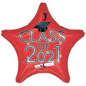 Red Class of 2017 Graduation Star Balloon