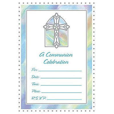 Blue Communion Value Pack Invitation 20 Pack