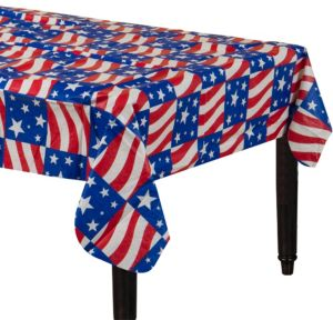Red, White & Blue Patriotic Flannel-Backed Vinyl Table Cover