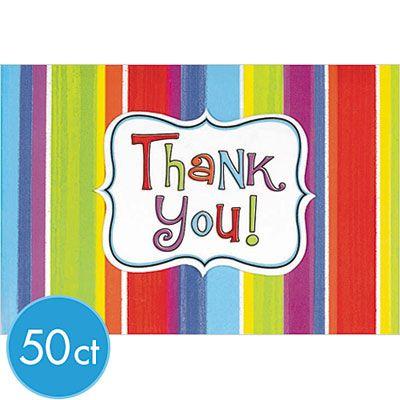 Celebration Stripe Thank You Notes 50ct