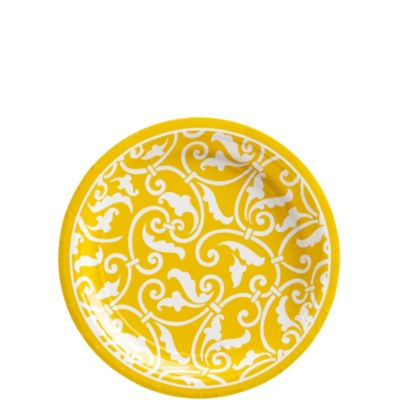 Sunshine Yellow Ornamental Scroll Dessert Plates 8ct