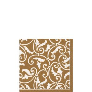 Gold Ornamental Scroll Beverage Napkins 16ct