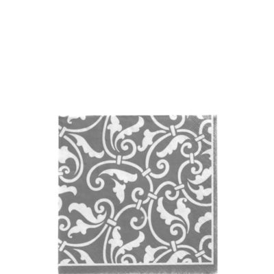 Silver Ornamental Scroll Beverage Napkins 16ct