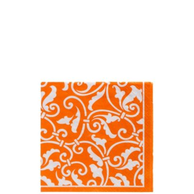 Orange Ornamental Scroll Beverage Napkins 16ct