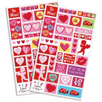 Valentines Day Assorted Stickers 2 Sheets