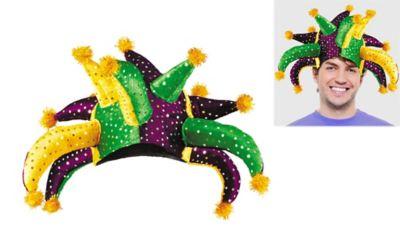 Crazy Sequined Mardi Gras Jester Hat