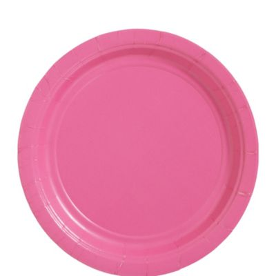 Bright Pink Paper Lunch Plates 50ct