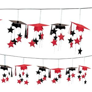 Red 3D Grad Cap Graduation Garland
