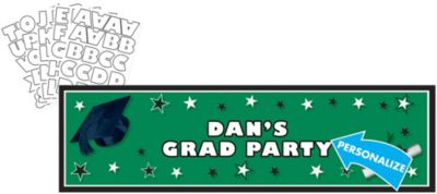 Green Personalized Graduation Banner