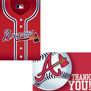 Atlanta Braves Invitations & Thank You Notes for 8