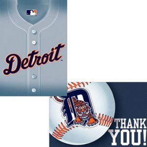 Detroit Tigers Invitations & Thank You Notes for 8