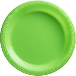 Kiwi Green Plastic Dinner Plates 50ct