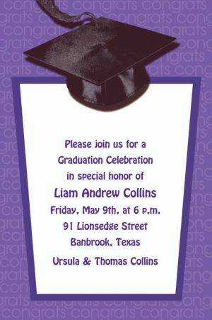 Custom Purple Congrats Grad Invitations