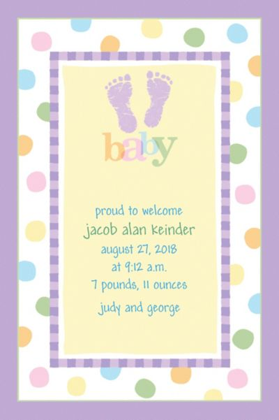 Custom Baby Steps Birth Announcements