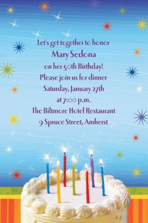 Custom Sparkle Wishes Birthday Invitations