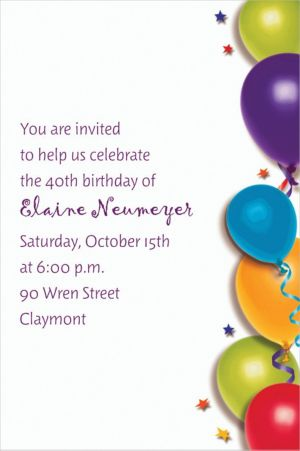 Custom Balloon & Stars Birthday Invitations