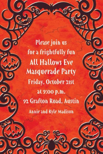 Custom Gothic Greetings Halloween Invitations