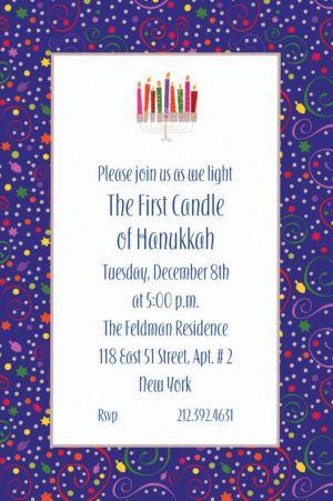 Custom Hanukkah Playful Menorah Invitations