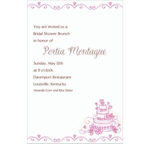 Custom Cake Bridal Shower Invitations