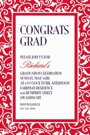 Custom Red Ornamental Scroll Invitations