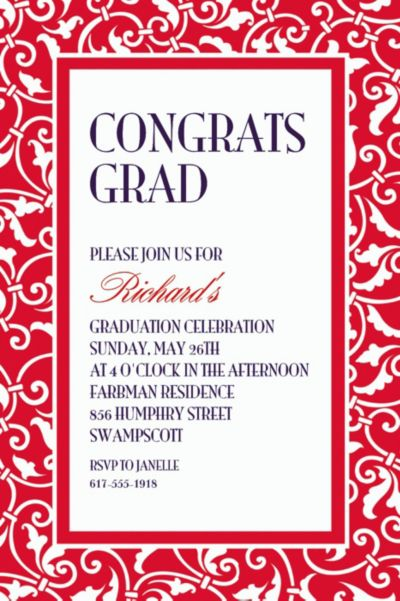 Red Ornamental Scroll Custom Invitation