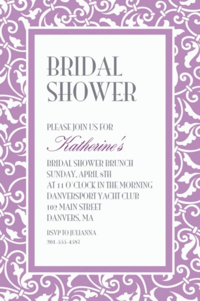 Custom Lavender Ornamental Scroll Invitations