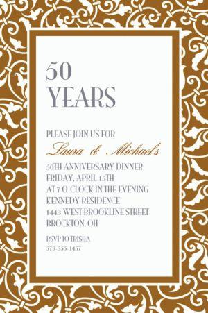 Custom Gold Ornamental Scroll Invitations