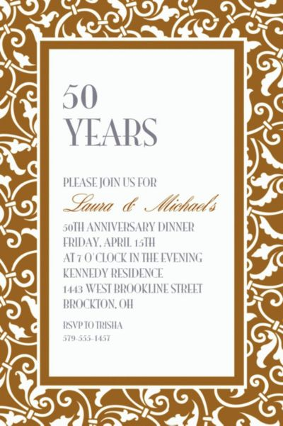 Gold Ornamental Scroll Custom Invitation