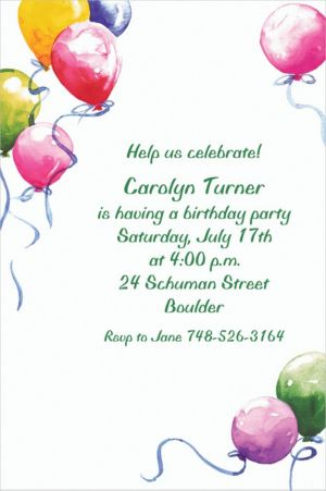 Custom Balloons Invitations