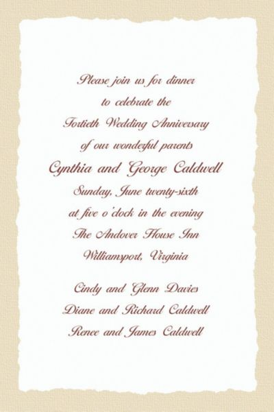Taupe Deckle Edge Custom Invitation