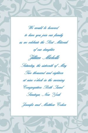 Custom Gray Damask Border Invitations