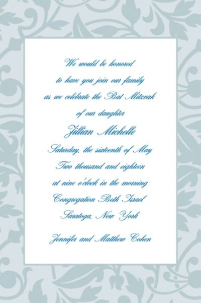Gray Damask Border Custom Invitation