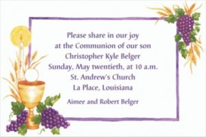 Custom Communion with Grapes Invitations