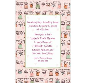 Custom Lingerie Clothesline Bridal Shower Invitations